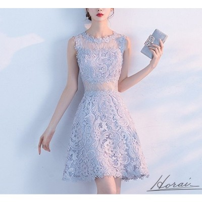 総レース ノースリーブ Aライン フレア シースルー 透け感 ミニ丈 上品 セクシー ドレス 結婚式 お呼ばれ パーティードレス ワンピース