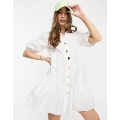 リバーアイランド River Island レディース ワンピース ミニ丈 シャツワンピース ワンピース・ドレス Volume Smock Mini Shirt Dress In White ホワイト