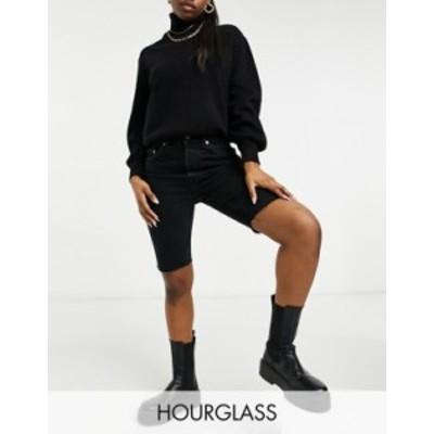 エイソス レディース ハーフパンツ・ショーツ ボトムス ASOS DESIGN Hourglass organic denim '90's' longline shorts in washed black W