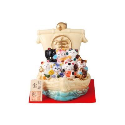縁起物 置物 日本製 瀬戸焼 七福ねこ宝船 規格 クリーム 七福猫 家庭用 業務用 飾り物 インテリア 玄関飾り 陶器 かわいい 猫 ネコ