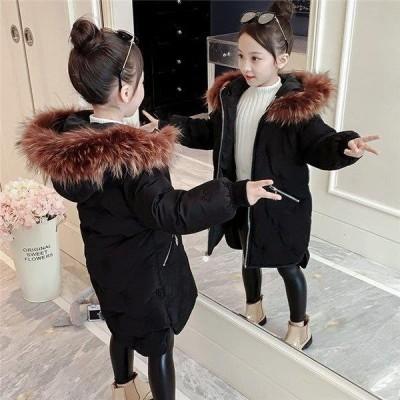 女の子 中綿ジャケット 子供 冬服 可愛い 中綿コート ダウンジャケット 膝丈 柄 ダウンコート カジュアル 暖かい 厚手 アウター 防風 防寒