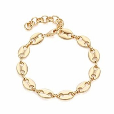 CITLED Women Gold Chain Bracelet Coffee Bean Thick Link 14K Gold Filled Copper Simple Dainty Jewelry Gift