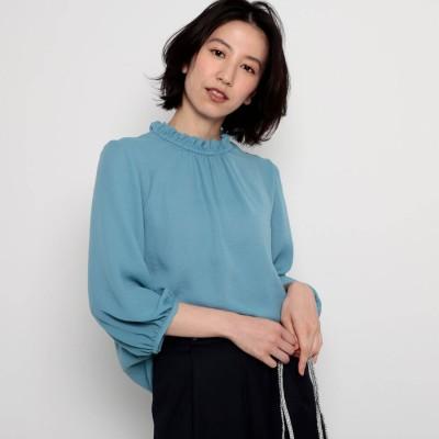 デッサン Dessin 【洗える】ジョーゼットフリルブラウス (ライトブルー)
