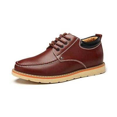 [Fainyearn] シークレットシューズ カジュアルシューズ メンズ靴 シークレット革靴 紳士靴 (ワインレッド 24.5 cm)