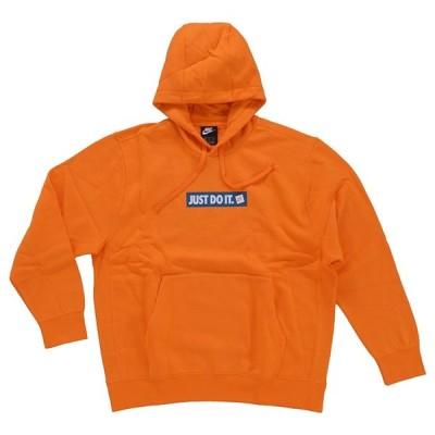 NIKE ナイキ JDI FLEECE BST PULLOVER HOODIE BV5095 873 メンズ パーカー スウェット トレーナー プルオーバー カンガルーポケット 長袖 リブ オレンジ 橙 ロゴ