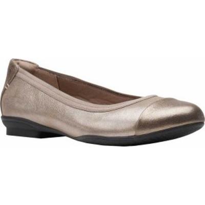 クラークス レディース パンプス シューズ Women's Clarks Sara Orchid Cap Toe Ballet Flat Metallic Leather