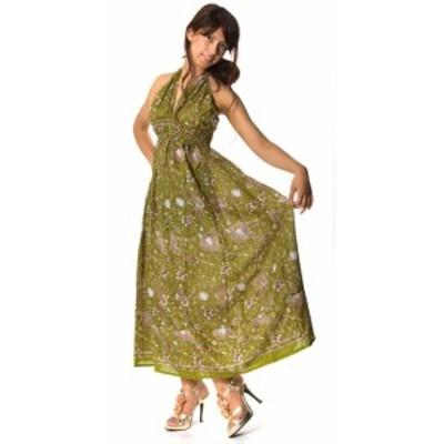 オールドサリーマキシワンピース 緑 青緑系 / アンティークサリー サリー生地 ドレス エスニック アジアン 女性 トップス エスニック衣料