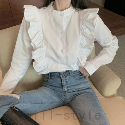 フリルブラウス韓国オルチャンストリート可愛い原宿系シャツきれいめ長袖トップス