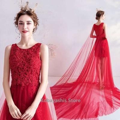 結婚式ドレス赤ウェディングドレスチュールトレーンゲストドレスレースノースリーブロングドレスパーティー二次会お呼ばれ
