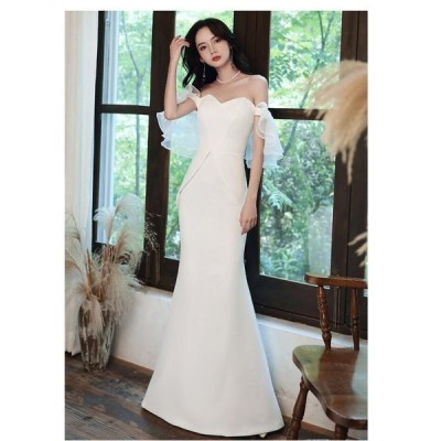 ウエディングドレス オフショルダー ロング丈ドレス パーティードレス 20代 30代 40代 マーメイドドレス フォーマル 結婚式 披露宴 二次会 お
