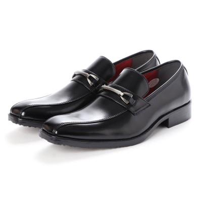 ジーノ Zeeno ビジネスシューズ メンズビット ローファー スワールモカ ロングノーズ 脚長 紳士靴 革靴 (ブラック)