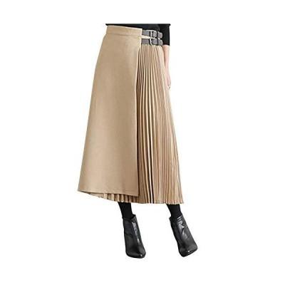[エアバイ] ミモレ丈 サイドプリーツ スカート とろみ きれいめ ベルト付き アシンメトリー ロングスカート シフォンスカート セレモニー プリーツ