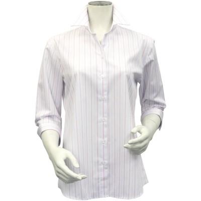トーキョーシャツ TOKYO SHIRTS 形態安定ノーアイロン スキッパー衿 七分袖ビジネスワイシャツ (ライトピンク)