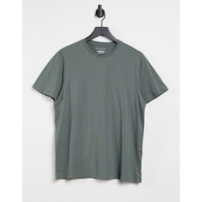 ニュールック メンズ シャツ トップス New Look t-shirt with crew neck in khaki Green