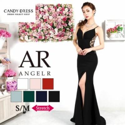 S/M 送料無料 Angel R/エンジェルアール ストレッチ無地×バックゴージャスビジューデザインスリットノースリーブタイトロングドレス AR9