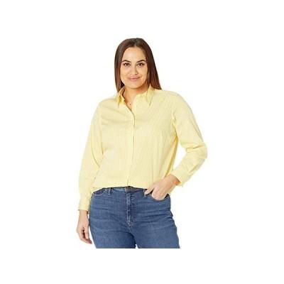 LAUREN Ralph Lauren Plus Size Pinstripe Cotton Shirt レディース シャツ トップス Yellow/White