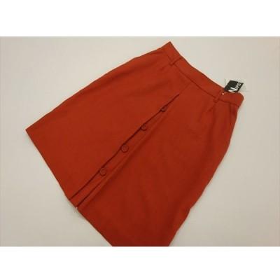 訳あり ナピスト NAPIST ひざ丈 ボックスプリーツスカート 9号 オレンジ  ミントブリーズ 普段も職場も好印象 メール便可