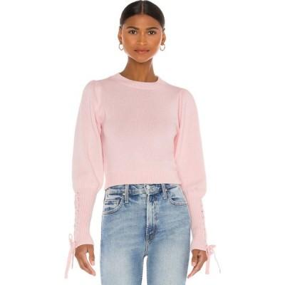 525 レディース ベアトップ・チューブトップ・クロップド ニット・セーター トップス Cropped Tie Sleeve Pullover Sweater Light Pink
