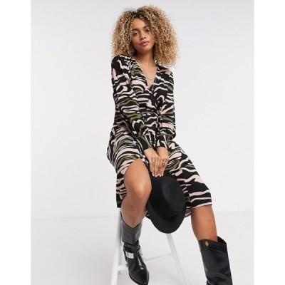 オブジェクト レディース ワンピース トップス Object v neck long sleeve midi tea dress in black print