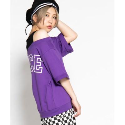 (WEGO/ウィゴー)WEGO/ロールアップオフショルロゴTシャツ/ユニセックス パープル