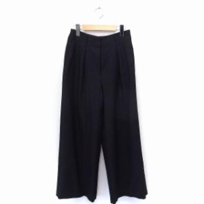 【中古】プラステ PLST パンツ ワイド ロング 無地 シンプル XS ブラック 黒 /FT5 レディース