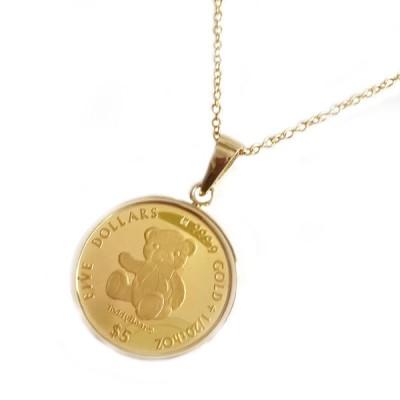 コイン ネックレス 2020年限定 テディーベア 純金 エリザベス女王 金貨 イエローゴールドk18枠 1/20オンス リバーシブル ケース付 レディース ガラス付