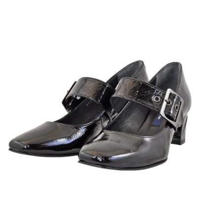 レディース 靴 パンプス マドラス 日本製 チャンキーヒール スクエアトゥ ストラップパンプス 送料無料 ブラックエナメル MAL3505BLA-E