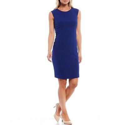 カスパール レディース ワンピース トップス Petite Size Scoop Neck Cap Sleeve Crepe Sheath Dress