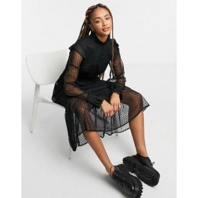 ヴァイオレット ロマンス VIOLET ROMANCE レディース ワンピース Violet Romance Midaxi Mesh Polka Dot Dress With Long Sleeves ブラック