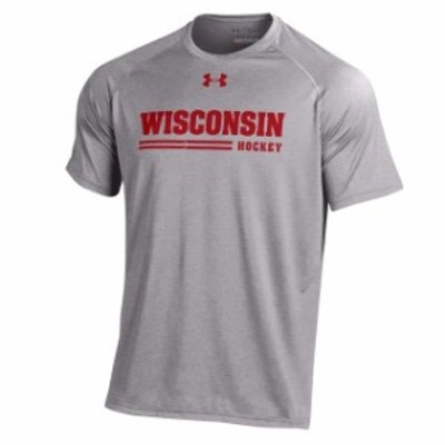 Under Armour アンダー アーマー スポーツ用品  Under Armour Wisconsin Badgers Gray Hockey Tech Performance T-Shirt