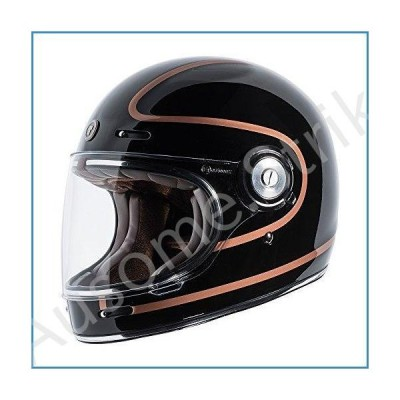 TORC Unisex-Adult T105COP25 Retro Fiberglass Full-Face Style Motorcycle Helmet with Graphic (Copper Pin Gloss Black, X-Large), 1 Pack【並