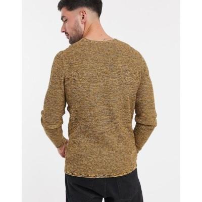 オンリーアンドサンズ メンズ ニット&セーター アウター Only & Sons textured sweater in twisted yellow Fall blaze