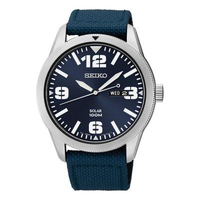 10年保証 日本未発売 SEIKO セイコー エッセンシャルズ ソーラー SNE329 腕時計 メンズ 逆輸入 アナログ シルバー ネイビー レザー 革ベルト 海外モデル