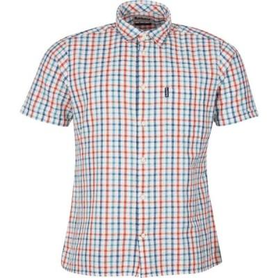 バブアー Barbour メンズ 半袖シャツ トップス Seersucker 7 Short Sleeved Summer Shirt Aqua AQ