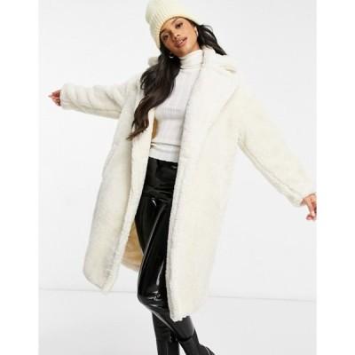 キューイーディーロンドン レディース コート アウター QED London oversized teddy coat in cream