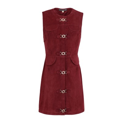 ALEXACHUNG ミニワンピース&ドレス ボルドー 10 山羊革 100% ミニワンピース&ドレス