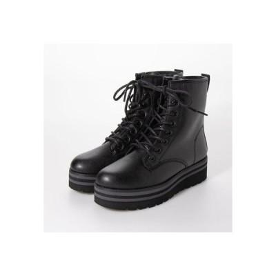 ブソラ bussola 撥水レザーバイカラー厚底ショートブーツ (ブラック)