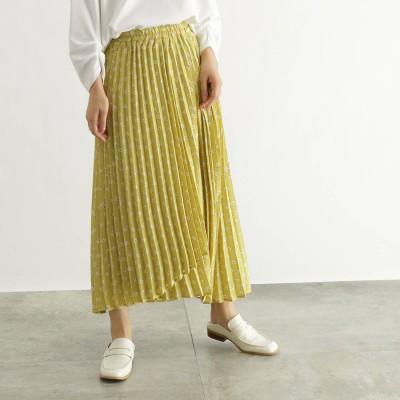 オゾック OZOC [洗える]ラップ風アシメプリーツスカート (イエロー花柄)