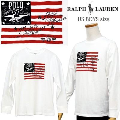 ポロラルフローレン 長袖 Tシャツ メンズ レディース プリント 2020秋新作 USフラッグ  カットソー ロンT ロングTシャツ POLO Ralph Lauren Boy's  #323786410