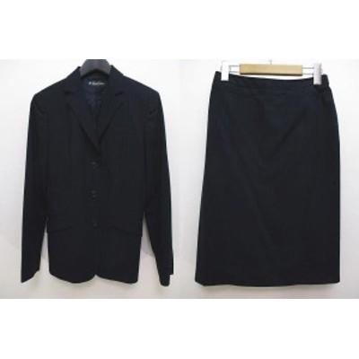 【中古】ブルックスブラザーズ BROOKS BROTHERS スカートスーツ 長袖 ジャケット ストライプ ボタン 薄手 9AR 紺
