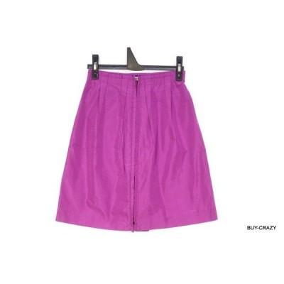 ミュウミュウ 36(約S) 台形スカート 膝丈 ナイロン 無地 ボトムス 紫 パープル 良品 MIUMIU 1674g