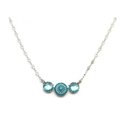 マリアナ ネックレス Mariana Silver Plated Swarovski Crystal Necklace Checkerboard Cut Aqua Circle Mosaic 1082 Zambezi