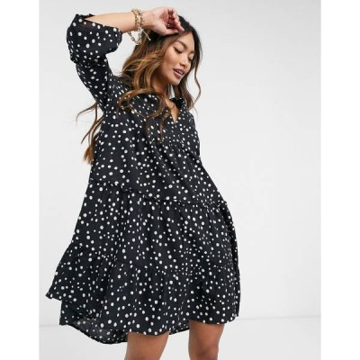 ヴェロモーダ レディース ワンピース トップス Vero Moda smock mini dress in black polka dot Multi