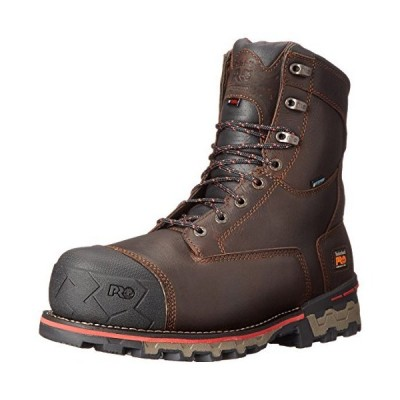 (新品) Timberland PRO Men's 8 Inch Boondock Comp Toe Waterproof INS 1000 Work Boot, Brown Tumbled Leather, 11 W US
