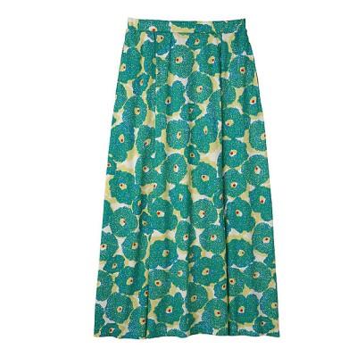 <PEOPLE TREE(Women)/ピープルツリー> コットンフラワープリントタックロングスカート 60グリーン系【三越伊勢丹/公式】