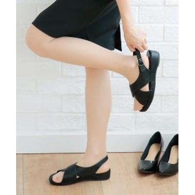 サンダル 大きいサイズ レディース 超軽量 オフィス 低反発中敷 ワイズ4E 靴 黒 23.0~23.5/24.0~24.5/25.0~25.5/26.0~26.5cm ニッセ