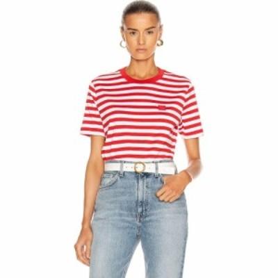 アクネ ストゥディオズ Acne Studios レディース Tシャツ トップス ellison stripe face t-shirt Cherry Red