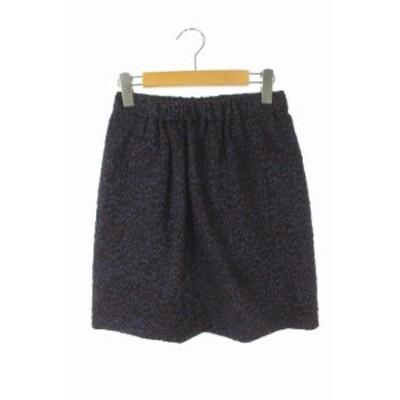 【中古】ドゥロワー Drawer スカート タイト ギャザー ミニ ラメ 刺繍 36 黒 青 茶 /AA ■OS レディース