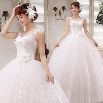 ウェデイングドレス花嫁ドレスウエディングロングドレスバックスタイル白ドレスプリンセスライン結婚式披露宴ブライダル