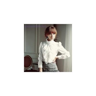 ブラウス スタンドカラー ハイネック 上品 大人ガーリー セクシー フォーマル ボタン フリル ワイシャツ 大きいサイズ レディース 女性 黒 白